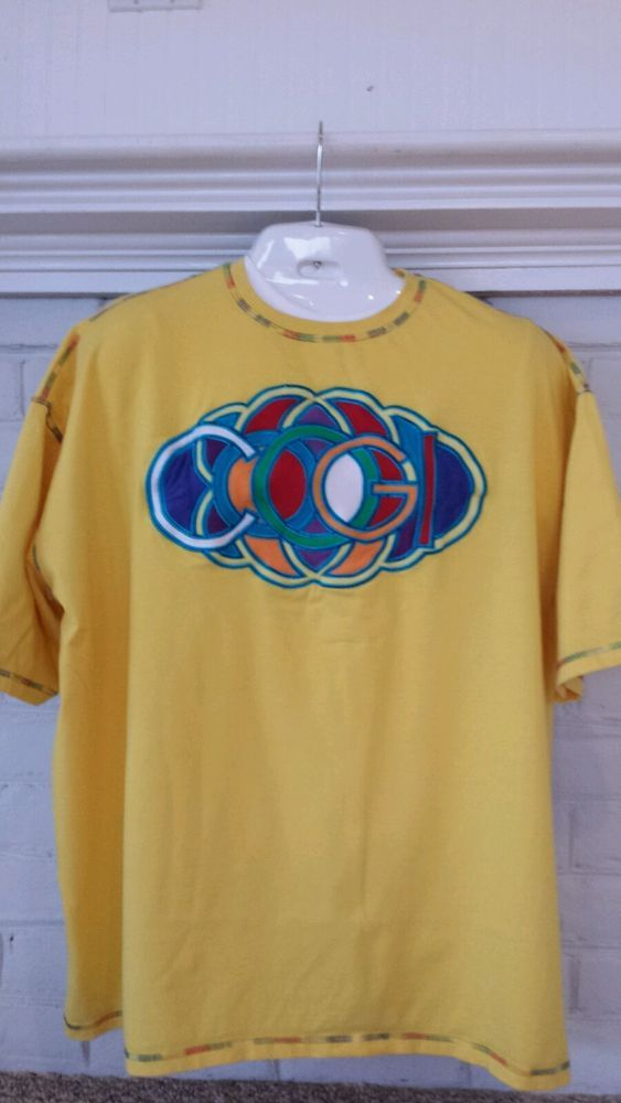 coogi shirt 3xl xxxl men yellow sewn embroidered emblem