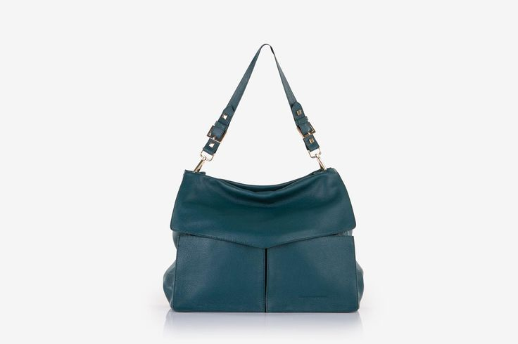 Minerva in teal pebbled calf leather - Front view.