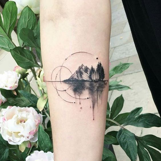 Mountain tattoos represent hurdles in life that must be overcome. Usually, mountain tattoos are partnered with trees as in real life. The go… #AwesomeTattoos