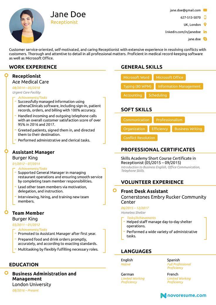 Receptionist Resume Sample [Job Description, Skills & Tips