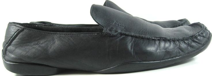 Hugo Boss Men Leather Driving Moccasins Shoes Black size 9 Style 50130563. ZZZ33 #HUGOBOSS #DrivingMoccasins