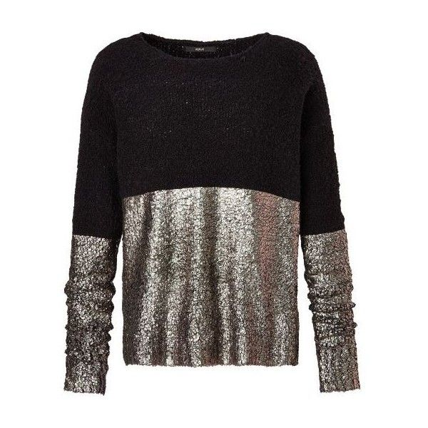 Pullover, Metallic-Optik (200 AUD) ❤ liked on Polyvore featuring tops, sweaters, pullover tops, sweater pullover, metallic sweater, party tops and night out tops