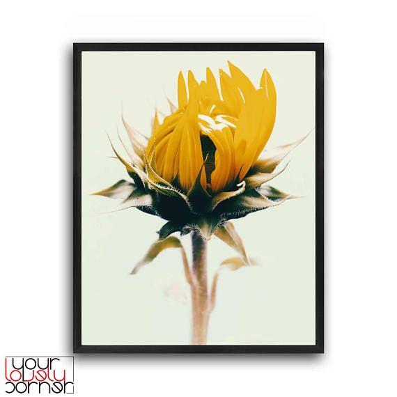 Botanical wall art Sunflower print Flower wall print Floral