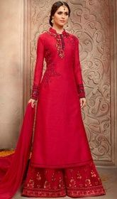 Maroon Color Silk Embroidered Palazzo Suit #palazzosuitsonlineshopping #palazzosuitssilk Become the object of everyone's attention in this maroon color silk embroidered palazzo suit. This stunning dress is displaying some remarkable embroidery done with lace and resham work.  USD $ 131 (Around £ 90 & Euro 100)