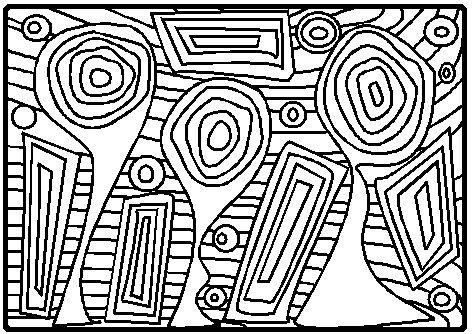 Ce mois-ci les fiches de graphisme  et le coloriage sont inspirés avec beaucoup de modestie du peintre : Hundertwasser.