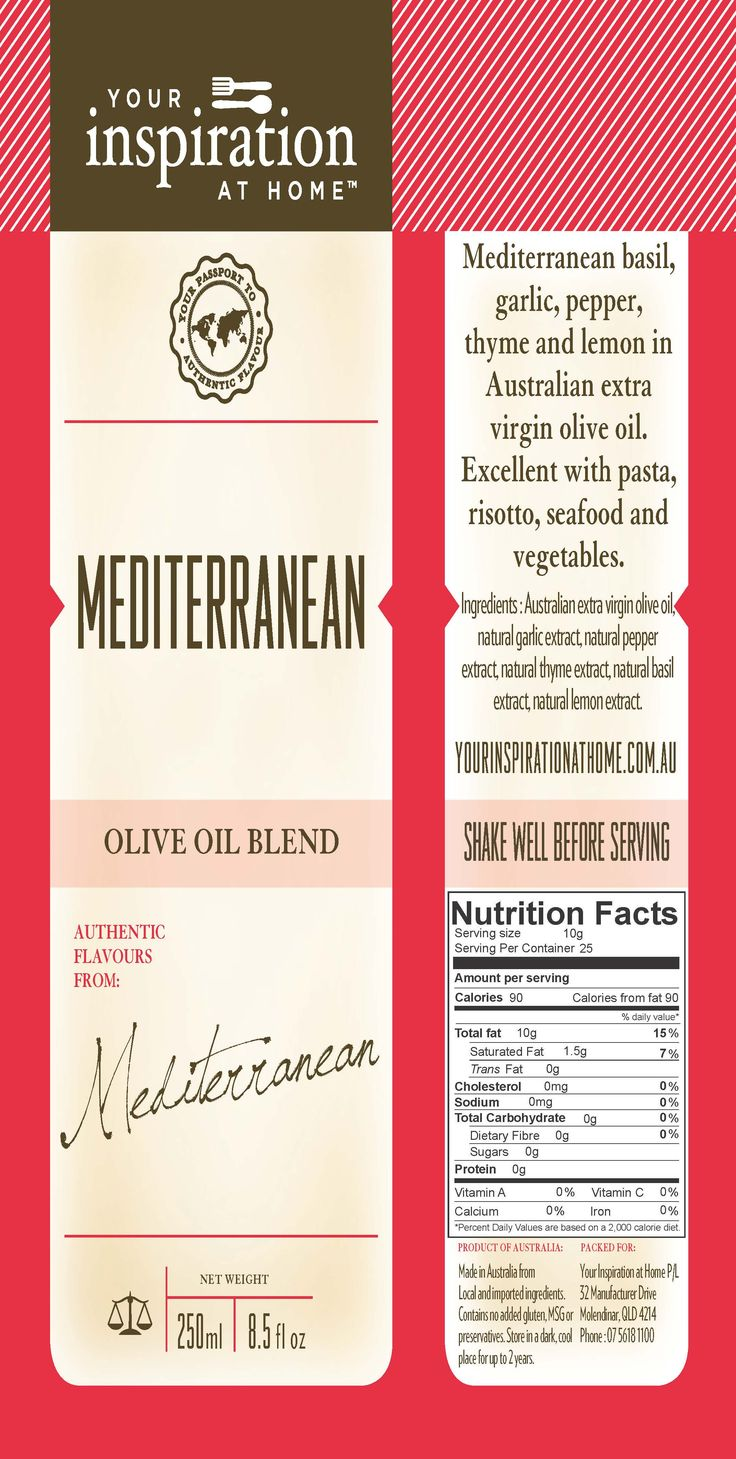 Mediterranean Oil  Mediterranean flavours of basil, garlic, pepper, thyme, and lemon in Australian Extra Virgin Olive Oil. Just toss in a salad with lemon or vinegar for an easy, gourmet dressing. Add to your favourite pasta dish, dip fresh bread or drizzle over chicken or fish.