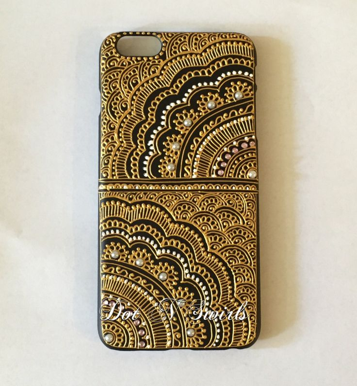 Iphone 7 Case decorated with gold henna by dotnswirls on Etsy