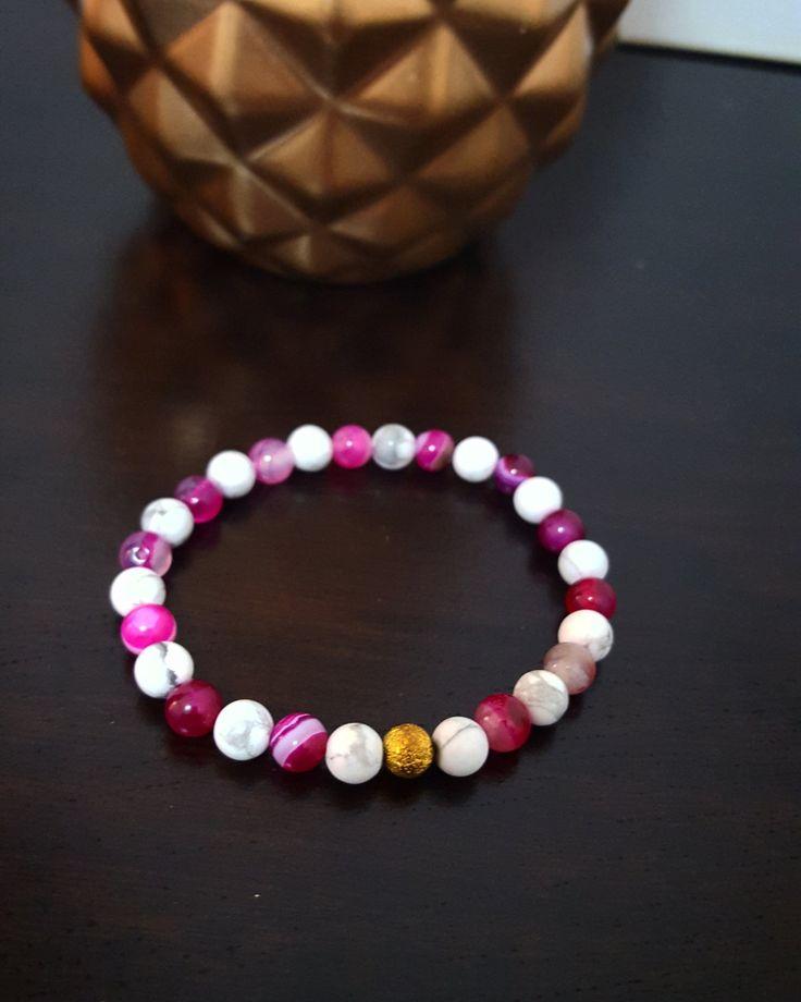 Bracelet | Pierres | Style Bohème | Boho | Howlite | Gold | Blanc | Rose | Plage…
