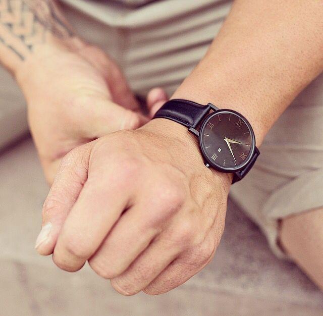 Black leather ~ #watch #tattoos
