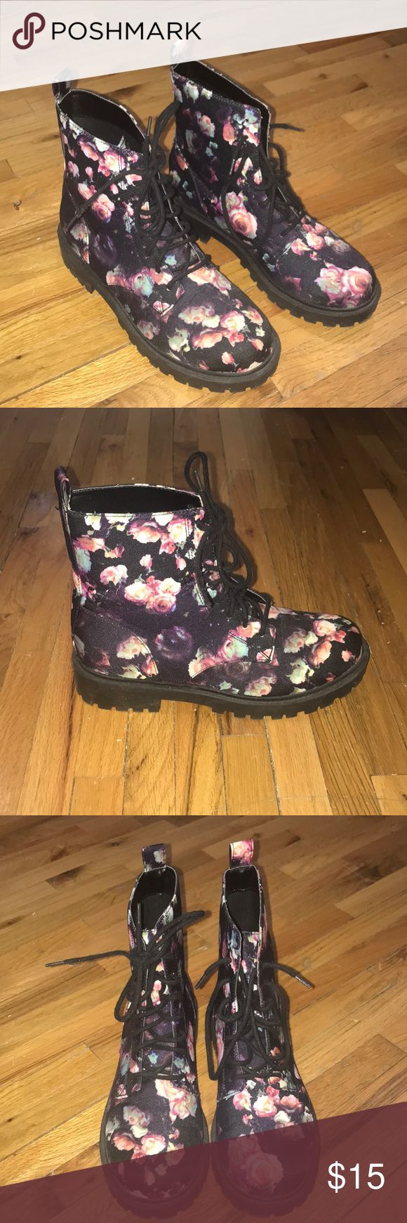 Floral Combat Boots Divided by H&M Canvas Flower Print Upper Combat Lace-Up Boots  never worn, no tags but stickers on bottom Divided Shoes Combat & Moto Boots