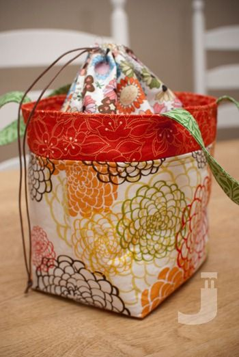 "drawstring lunch bag  9""(width) x 7 1/2""(height w/o handles) x 5 1/2"" (depth)  tutorial by Ayumi"