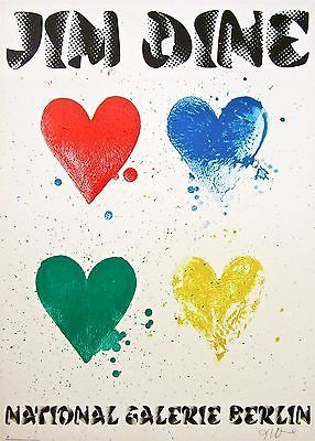 Four Hearts, 1971 Exhibition Poster, Jim Dine - SIGNED!