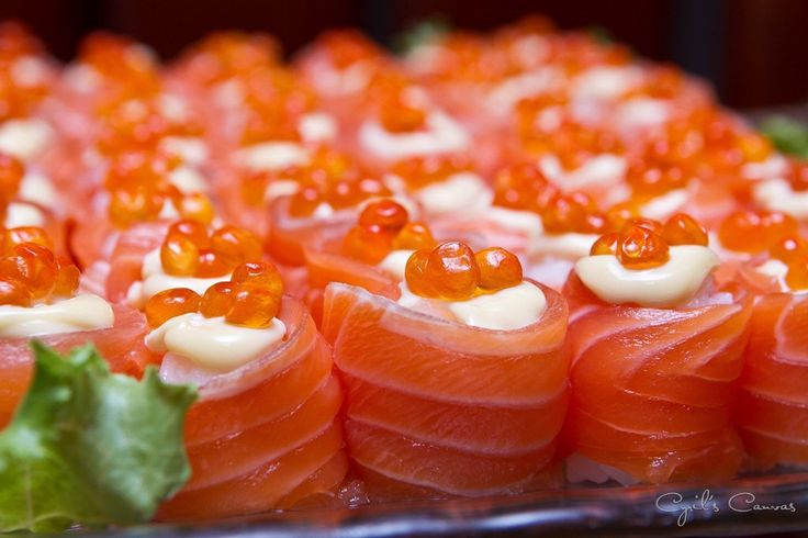 IKURA SALMON SUSHI - My style of eating; eat the SALMON & SUSHI first and leave the Ikura (Salmon Eggs) for the last. The Ikura gives a very pungent yet delicious taste when it bursts in your mouth.   by cyrilteo   CYRIL'S CANVAS
