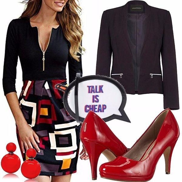 Aperitivo autunnale con le amiche? Vi propongo questo vestito manica 3/4 a vita alta con geometrie, blazer nero con tasche a zip che riprende la chiusura del vestito, scarpe rosse, orecchini rossi e questa pochette sbarazzina!