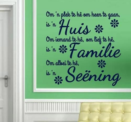 Wall Decals - VINYL DECAL - FAMILIE SEENING AFRIKAANSE KWOTASIE 1 WALL ART - CHOOSE COLOUR for sale in Durban (ID:174888819)