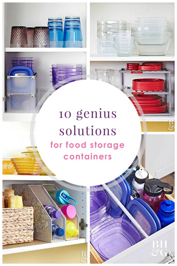Don't let food storage containers take over your kitchen cabinets. Declutter and properly store your containers with these genius storage hacks! #storage #storagehacks #kitchen