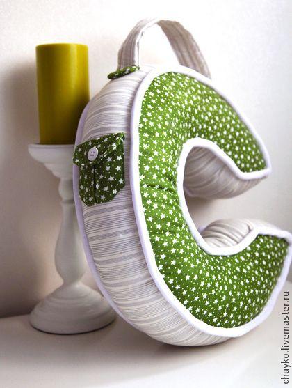Буква-подушка С - подарок,подарок малышу,подушка декоративная,инициалы