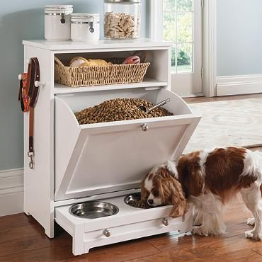 Pet Feeder Station http://www.grandinroad.com/pet-feeder-station/home-care-pets/pet-gates-stairs/551658?defattrib=&defattribvalue=&listIndex=2