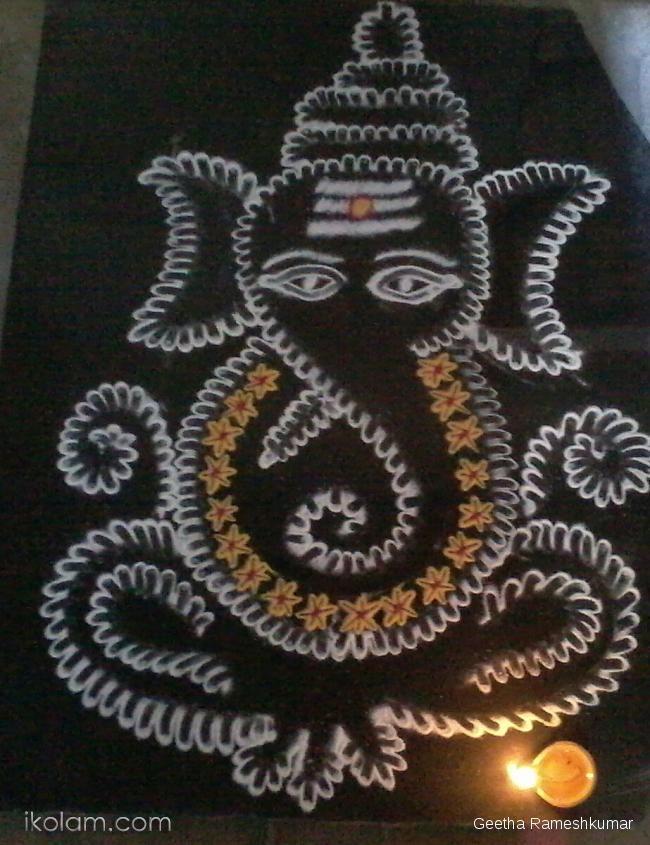 Rangoli Freehand Rangoli: Ganesh Rangoli! by Geetha Rameshkumar