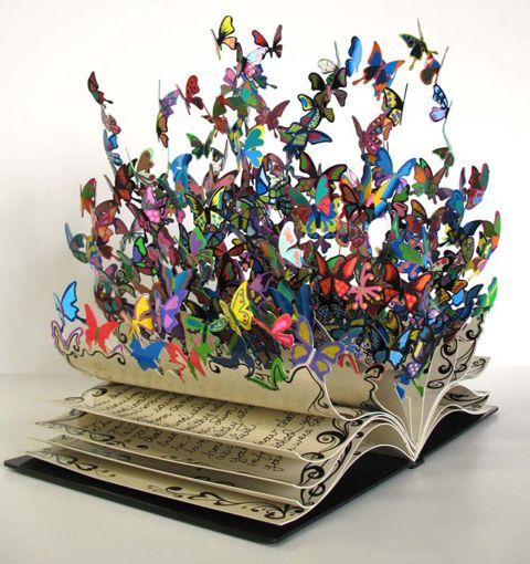 InspiraciónMetals Sculpture, Pop Up Book, Book Art, Book Sculpture, David Walked, The Artists, Butterflies, New Life, Child Life