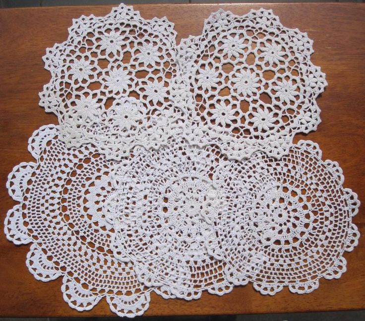 Five Vintage DOILIES in White Cotton x2 Sets  x1 Similar I have taken lots of pictures when visual gives a better description than written word. In very good condition *Washed *Starched *Ironed  so comes to you ready to use.