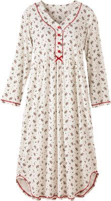 Cotton Knit Nightgown With Holly Berry Print | Holiday Nightdress