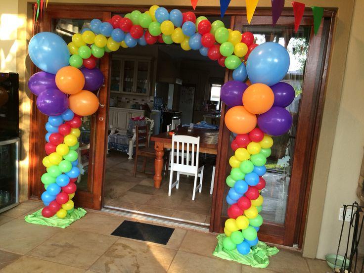 Rainbow theme balloon arch