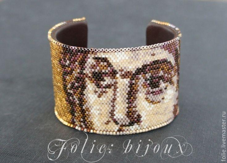 """Купить Браслет """"Византийская мозаика"""" - золотой, византия, мозаичное плетение, браслет из бисера, мозаика"""