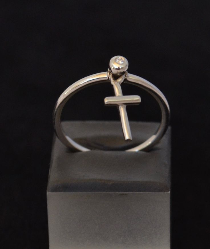 Cross charm and white natural diamond ring in solid 18k White Gold by ViazisJewelry on Etsy