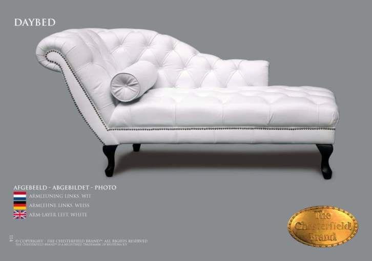 Lounge Bank Leer, Chaise Longue WIT in alle Kleur en Maat