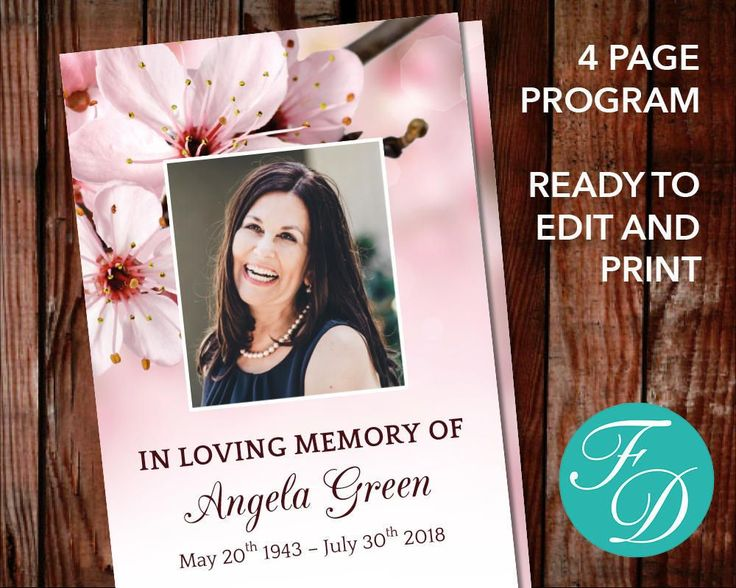 51 best Pink Funeral Program Templates images on Pinterest - program templates word