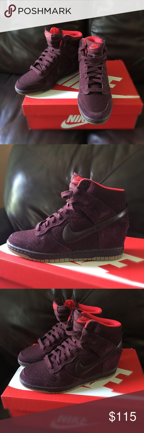 Nike Sky Hi wedge sneakers New with original box burgundy color Nike Shoes Sneakers