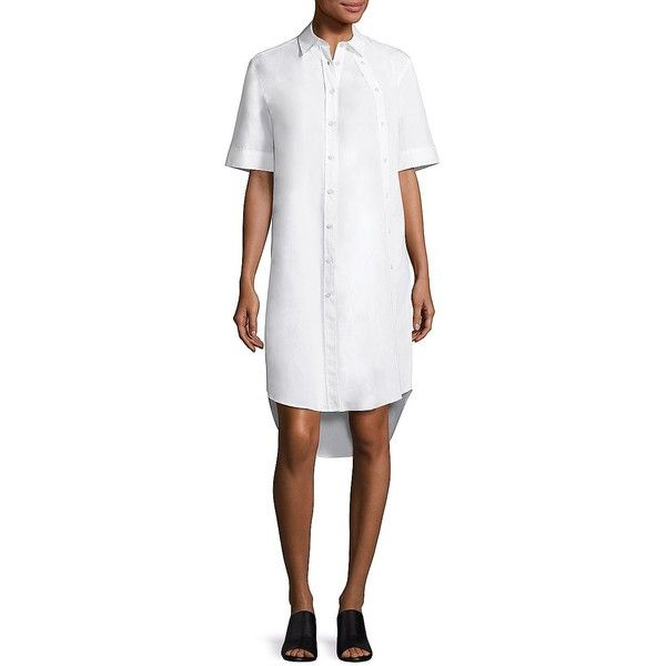 Public School Mara Cotton Shirtdress ($140) ❤ liked on Polyvore featuring dresses, white short sleeve dress, shirt dress, white hi low dress, white cotton dress and white high low dress