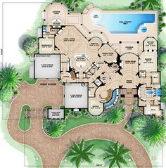 First Floor Plan of Florida   Luxury   Mediterranean   House Plan 60488