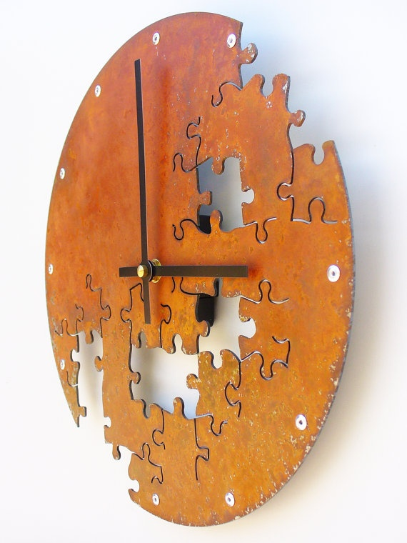 Puzzle Clock V Rusted by All15Designs on Etsy, $56.00