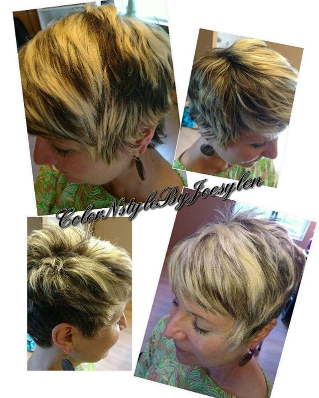 WEBSTA @colornstylebyjoesylen Sometimes a little bit of changes is always good. Going shorter for the summer and lighter is the best  time of the yr to do it. My before and after chunky highlights/ lowlights funky haircut and style
