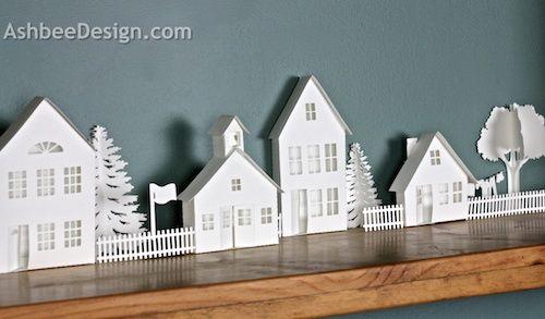 Ashbee Design Silhouette Projects: 3D Ledge Village - Schoolhouse -Silhouette Tutorial