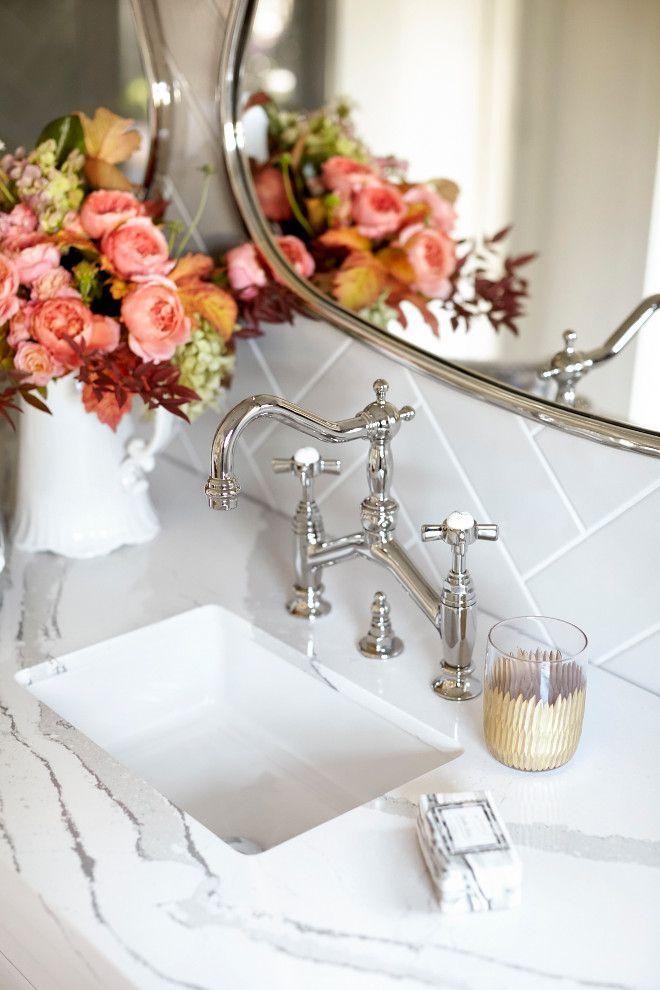 Bathroom Faucet, Bathroom Faucet Ideas, Polished nickel Bathroom Faucet #BathroomFaucet Kim Scodro Interiors