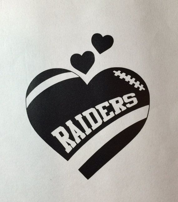 Oakland raiders football heart vinyl car decal bumper sticker computer decal small