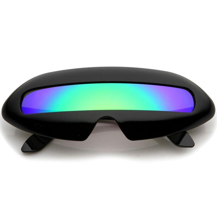 Futuristic Costume Single Shield Colored Mirror Lens Novelty Wrap Sunglasses 70mm - sunglass.la - 6