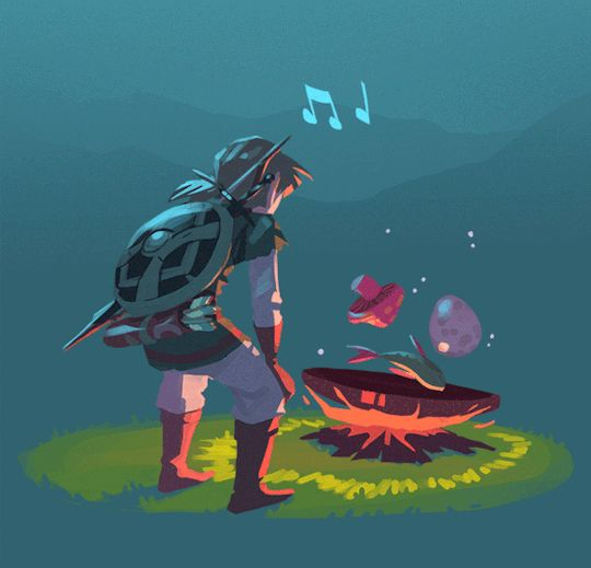 This is so cute!! And I really like cooking in this game. The little tune that plays along, Link humming, and how excited he gets when it's done!