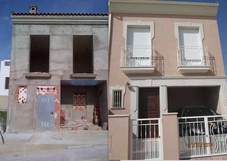 El ante y el después de una fachada de vivienda unifamiliar en Montoro (Córdoba)