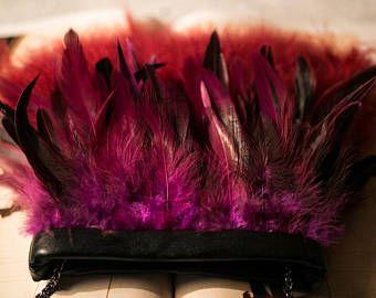 Black eco leather crossbody bag with marsala feathers