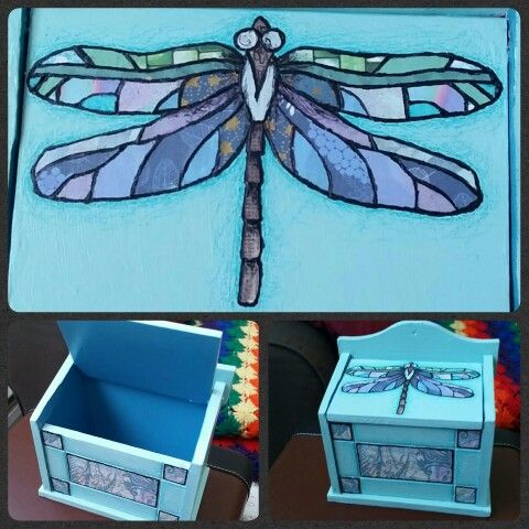 Dragonfly Box Handcut paper and acrylic on vintage recipe box  http://www.facebook.com/loveandtheart
