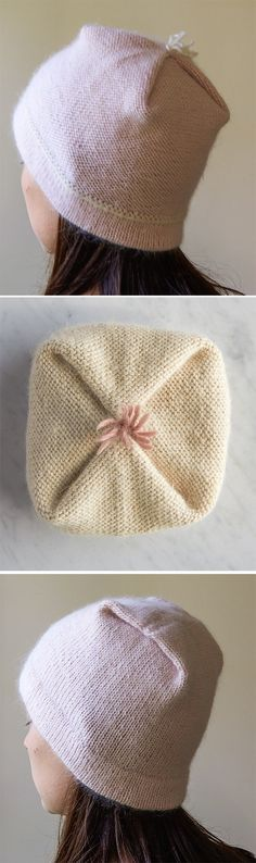 Free Knitting Pattern for Reversible Pleat Hat - Pleats form the crown of this beanie and showcase different looks inside and out! Sizes Baby (Toddler, Kid, Adult Small, Adult Large). Designed by Purl Soho