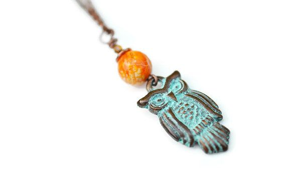 Owl Necklace Copper Patina Necklace Antique Copper by harmony5