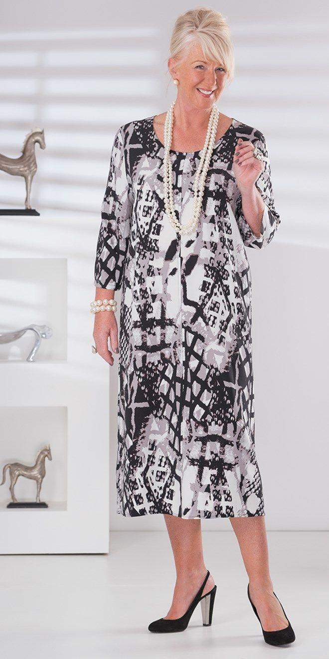 Box 2 black/grey crepe print dress