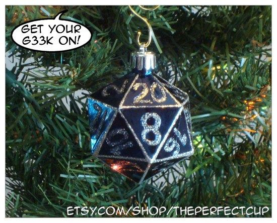 Gamer Geek hand decorated shatter resistant ornament D20 inspired Christmas decoration nerdy