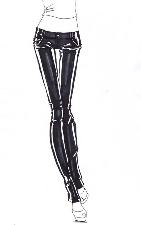 How to draw leather pants and leather fabric for fashion sketches and illustrations