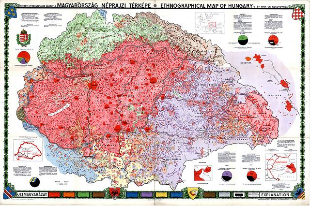 Ethnographical map of Hungary, early 20th century